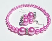 EARRINGS BRACELET set 2 or 3: rose pink varying sized glass pearls & wavy diamonte beads elasticated bracelet - free postage