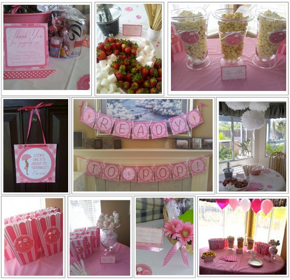 Ready to pop pink baby shower printable by theprintcessshop for Baby shower decoration packs