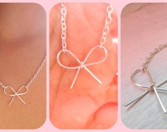 Silver Bow Tie Necklace