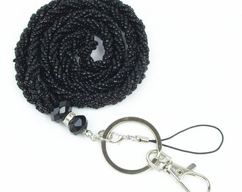 Black Seed Bead Necklace LANYARD Key chain with Clasp for Key / ID / Cell Phone Holder