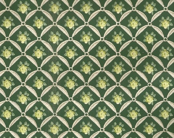 Vintage 1940's Wallpaper by the yard - dark green