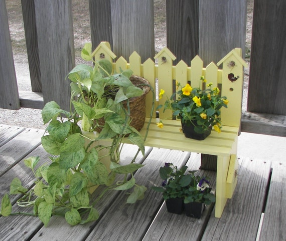 Handmade Wood Plant Stand Flower Pot Bench Picket Fence