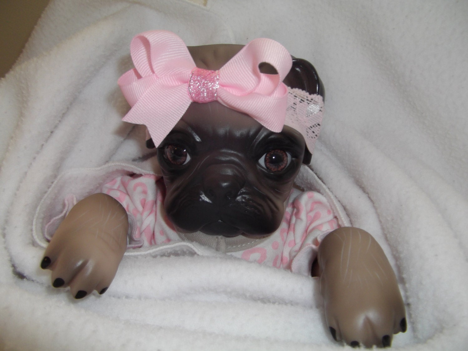 16 Pug Puppy Dog Doll Baby Reborn Girl Weighted Doe