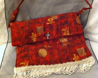 Small red chinese character print bag with white trim