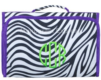 Trendy PurpleTrim Zebra Print Hanging Cosmetic bag With Free Embroidery