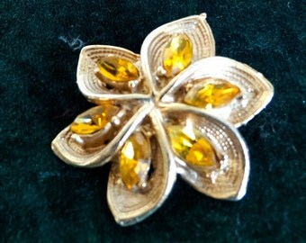 Lovely Gold Coloured Flower Petal Brooch with Citrine Coloured Stones - 1970s