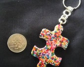 Rainbow Sprinkle Resin Puzzle Piece Keychain