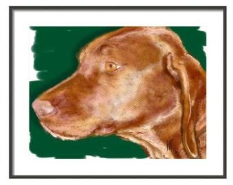 Custom Dog Portrait, custom pet portrait, custom portrait, dog lover, dog memorial, dog art, vizsla, dog, artwork, art print, pet memorial