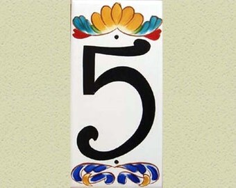 """Ceramic house numbers, house number plaque, Italian house numbers design. house sign, house numbers, size 4 x 8"""" - Single number, Milan"""