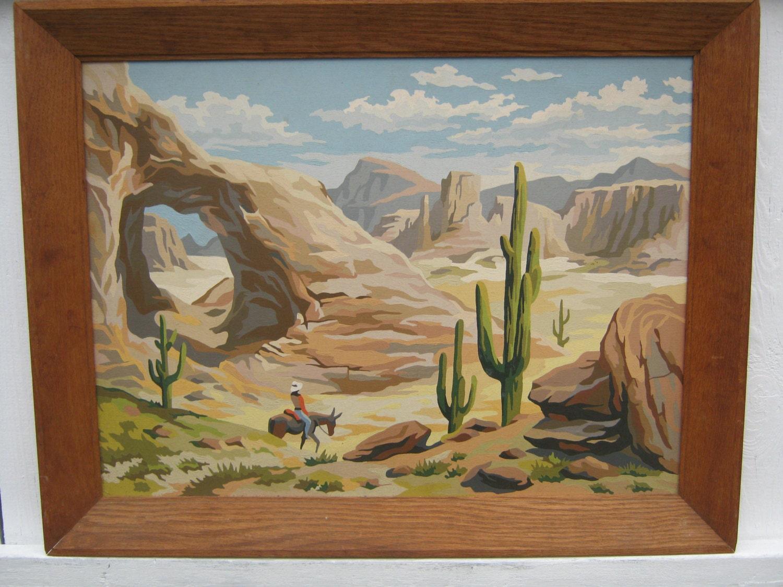 Large western desert scene paint by number for Desert wall mural