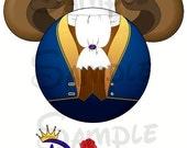 Beast (Beauty and the Beast) character Mickey head DIGITAL printable file DIY