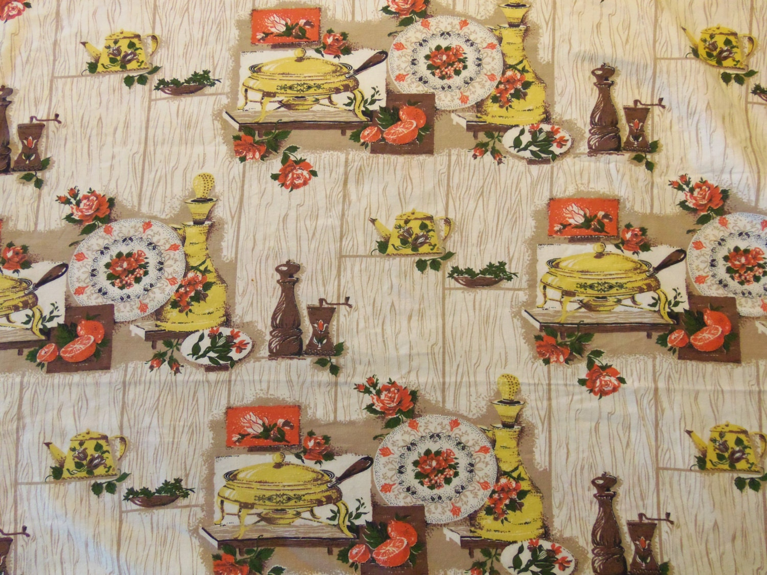 50s Vintage Large Kitchen Print Cotton Fabric 4 by ...