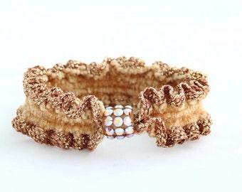 Beige ponytail holder with Swarovski elements crystal, rubber band, scrunchie, elastic decorative hair tie