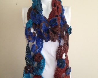 Crochet Blue Brown Scarf with Flowers, with Sparkles, Handmade, Fall Winter Fashion Accessories