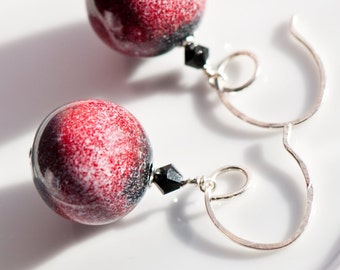 Bold Modern Bauble Earrings - Black White Red - Handmade Enameled Glass on Copper - Swarovski Crystal - Handmade Sterling Silver Ear Wires