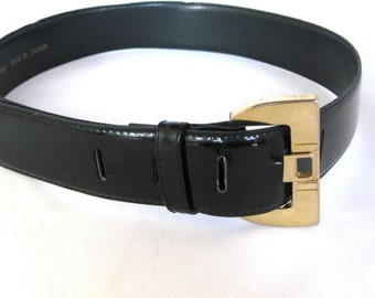 Vintage Black Patent Leather Belt with Gold Buckle