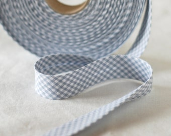 Soft Grey and White Check Bias Binding - Sold by meter