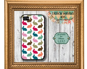 Preppy Rabbits iPhone Case, Easter iPhone Case, Plastic iPhone Case, iPhone 4, iPhone 4s, iPhone 5, iPhone 5s, iPhone 5c, iPhone 6