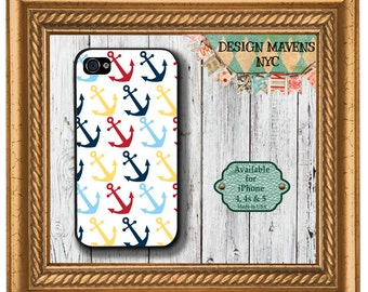 Colorful Anchors iPhone Case, Nautical iPhone Case, Spring Phone Case, iPhone 4, 4s, iPhone 5, 5s, 5c, iPhone 6, 6s, 6 Plus, Phone Case
