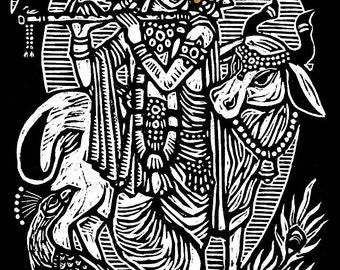 Krishna Woodblock Print
