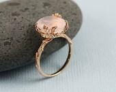 Unique Rose Quartz Ring, branch ring, nature, rose gold, unique, gemstone