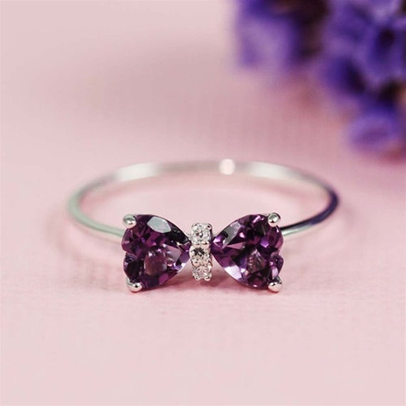 delicate amethyst double heart bow ring. Black Bedroom Furniture Sets. Home Design Ideas