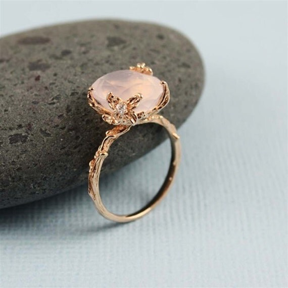 Unique Rose Quartz Ring Branch Ring Nature Rose Gold
