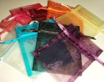 5 Organza bags 3 X 4 Mixed COLORS