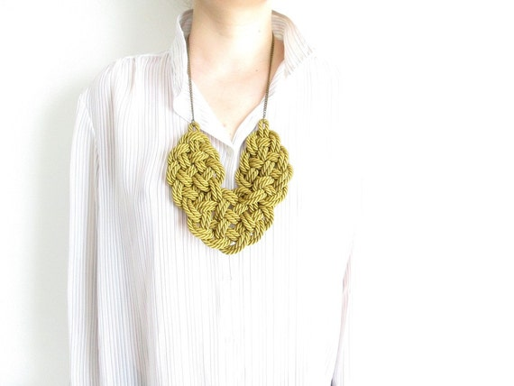 Rope statement necklace Rope necklace Rope knot necklace