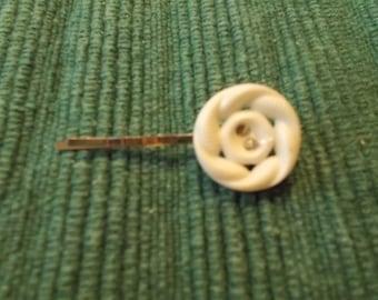 White Antique Button Bobby Pin