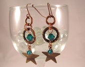 Crystal and Mixed Metal Star Charm Earrings