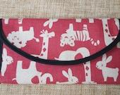 Custom order for Jeweledturtle: Red - Black Animal Pattern Handmade Wallet