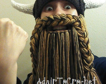 Brown Beard. Viking or Dwarven Hat With Horns and Beard.