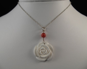 A Beautiful White Rose with Red Accent