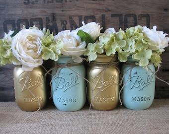 SALE!!! Set of 4 Pint Mason Jars, Ball jars, Painted Mason Jars, Flower Vases, Rustic Wedding Centerpieces, Gold and Mint Mason Jars