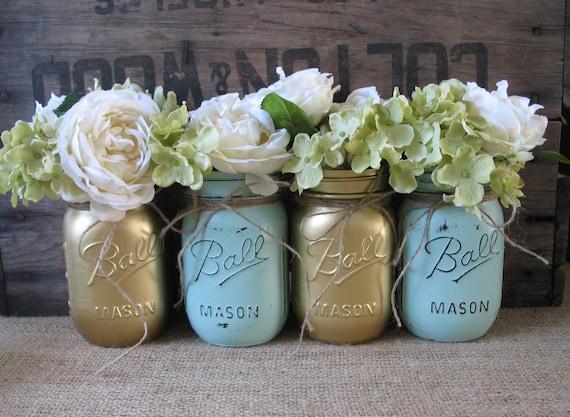 Mason Jars, Ball jars, Painted Mason Jars, Flower Vases, Rustic Wedding Centerpieces, Gold and Mint Mason Jars