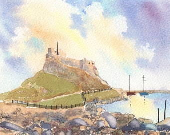 Watercolour Print, Holy Island, Lindisfarne, Northumberland, England, 14 x 11ins, Christmas, Gift Idea, Art and Collectables