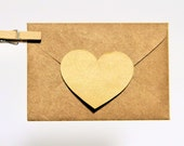 Shiny Gold Kraft Heart Decal Sticker Envelope Seals - Set of 12 - Gloriousmess