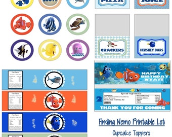 Disney Pixar Finding Nemo Birthday Party Printable Lot Package Favors and More