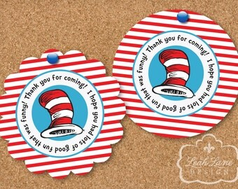 """Cat In The Hat - Dr. Seuss Birthday Party Printable 2"""" Favor/Thank You Tags - INSTANT DIGITAL DOWNLOAD"""