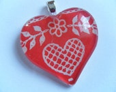 Red and White Vintage Heart Recycled Material Glass Tile Pendant