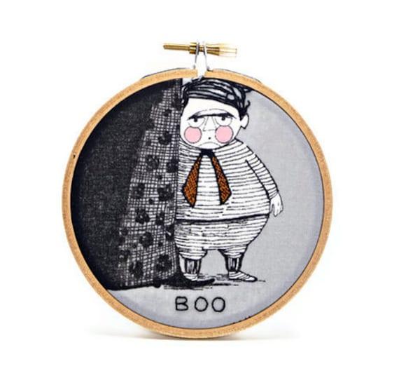 Hand embroidered hoop wall art Boo mysterious plump little boy