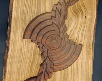 "sculpture turned wood, ""Centrifugal Force"", wall hanging"