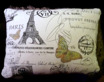Decorative Pillow Cover - Premier Prints French Stamp -  Butterfly -  Eiffel Tower 12x16 - Paris Pillow - French country - pillows