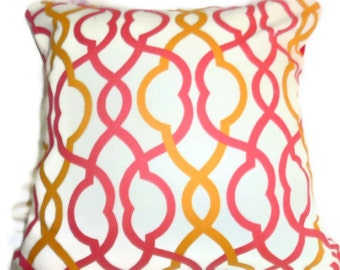 Waverly Make Waves Sorbet Designer Fabric Pillow Cover - shades of bright pink and yellow - 18x18 - Decorative pillow cover