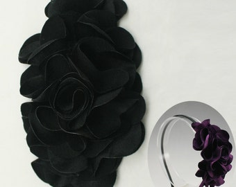 Satin Flower Motif Corsage Brooch for Headband, Hair Accessories, Hat, Hair Clips or more Accessories Handmade Annielov Flower08-black