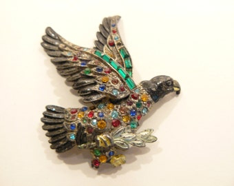 Fabulous Little Nemo Art Deco Enamel & Rhinestone Figural Eagle Brooch / Pin