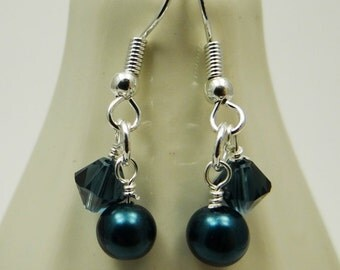 Wedding, Bridesmaid Earrings, Double Dangles, Swarovski Crystals, Glass Pearls, Midnight Blue, Customizable