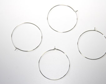 10 Piece silberf. Hoops earrings nickel free 35 mm OH79