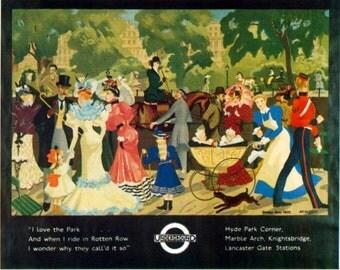 Art Print London Underground, Hyde Park, Victorian era,  Poster Print